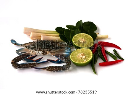 Thai food ingredient, Raw blue crab and vegetables - stock photo