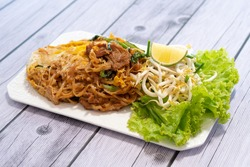 Thai food Korat's stir fried noodle similar to Pad Thai. This is traditional menu from Korat (province in Thailand).