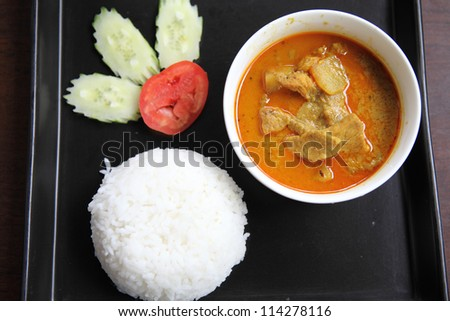 Thai food mussaman curry with rice