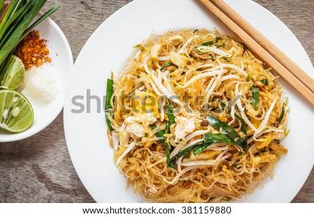 Thai food Pad thai , Stir fry noodles in padthai style #381159880