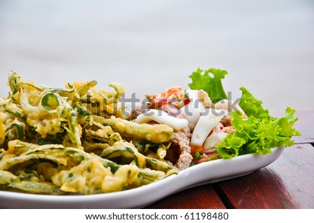 Thai food - Seafood Spicy salad with fried vegetable