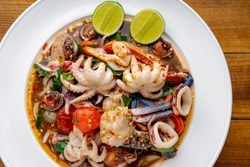 Thai food, spicy mixed seafood salad,Thai spicy food recipe,Spicy seafood,Yum Spicy seafood