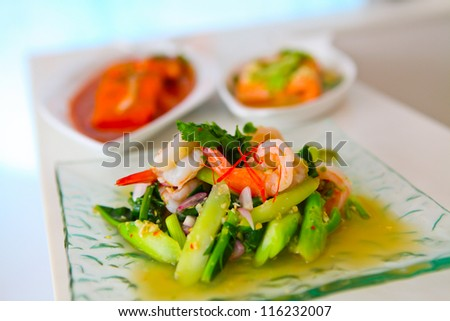 Thai Food, Spicy with seafood - stock photo
