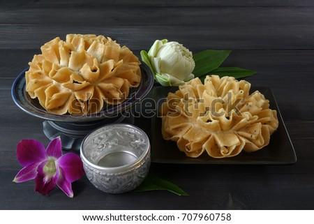 Thai Dessert Crispy Lotus Blossom Cookie Or Dok Jok Images And Stock