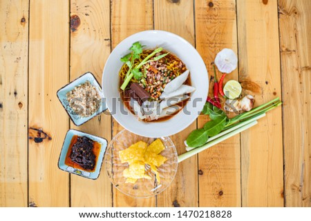 Thai food, Tom Yum noodles, delicious taste, delicious and delicious.