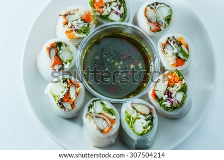 Thai food ,With vegetables and fish ingredients lettuce in noodle tube
