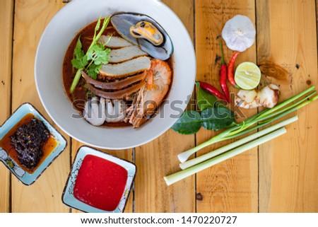 Thai food, Yentafo noodles, delicious taste, delicious and delicious.