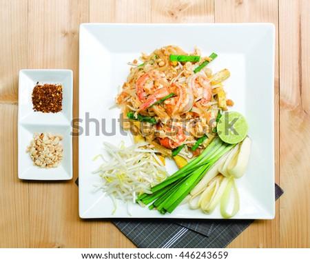 Thai fried noodle with fresh prawn, thai food (Pad Thai) #446243659