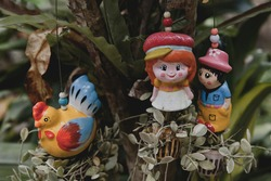 Thai funny ceramic Statues. Traditional decorative sculptures in Thailand. Funny Thai Figures. Ceramic dolls in Thailand. Cute Clay Figurines.