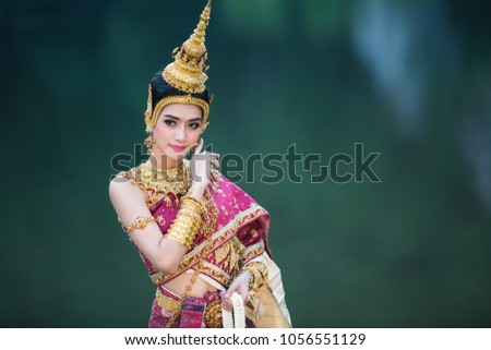 Thai girl in traditional thai costume, identity culture of Thailand.