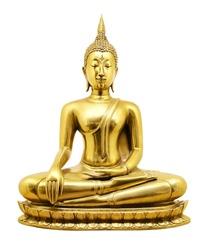 Thai golden Buddha isolated on white background