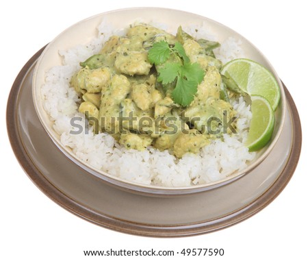 Thai green curry with chicken and jasmine rice