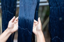 Thai Indigo Silk color from natural. Natural dyeing silk handmade in Surin, Thailand