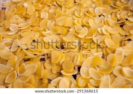 Thai mango crisp rice, Selective focus on top of thai crisp rice and still life picture #291368615