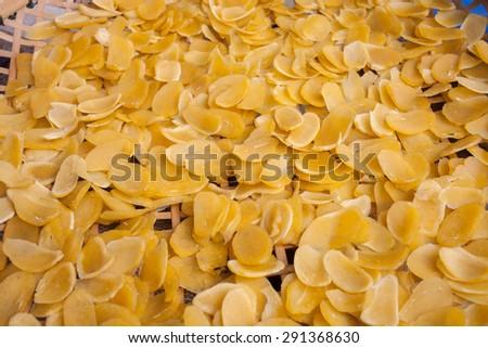 Thai mango crisp rice, Selective focus on top of thai crisp rice and still life picture #291368630