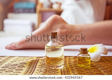thai massage alternative therapy or thai foot massage alternative medicine with thai herb or aroma oil or massage herb oil determine for spa or alternative medical concept for alternative therapy