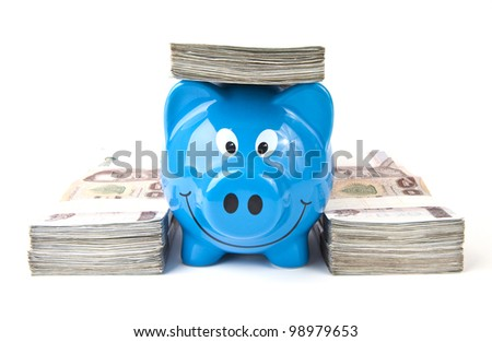 Thai money and the piggy bank. - stock photo