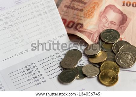 Thai money bath on Saving Account Passbook