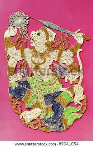 thai monkey god hanuman, ramayana character - stock photo