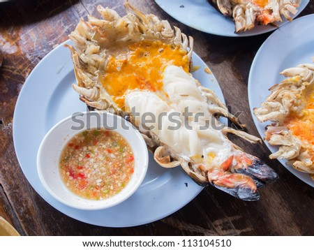 Thai most favorite food, grilled giant freshwater prawn cut in half and served