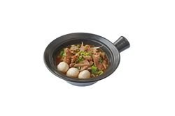 Thai Noodle Soup with Meat in a bowl whitebackground thai food.