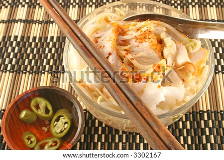 Thai noodle soup with red pork. A common dish found at street food stalls all over Thailand