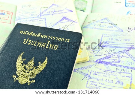 Thai official passport and immigration stapms