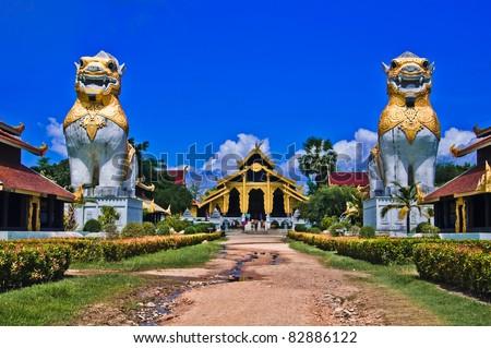 thai palace temple in burma style at Surasri Camp, Kanchanaburi, Thailand