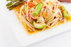 Thai papaya salad or Som Tum (traditional and modern thai food)