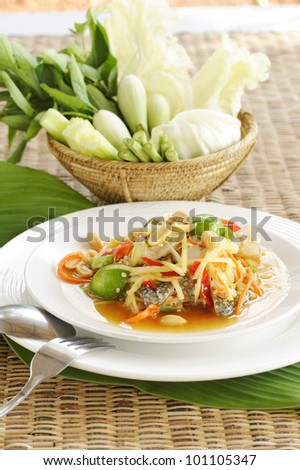 Thai Papaya Salad with Crab and Seafood - thai papaya salad hot and spicy - thai cuisine