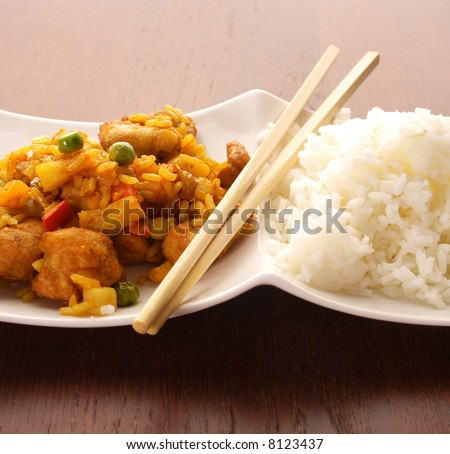 Thai peanut chicken curry with rice. chinese food. Indian curries and rice dishes - stock photo