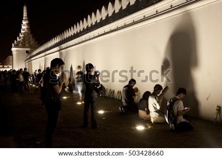 Thai people be faithful to King Rama 9, Grand Palace, Bangkok, Thailand, October 23, 2016. - Shutterstock ID 503428660
