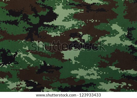 Thai police green tiger stripe camouflage fabric texture background