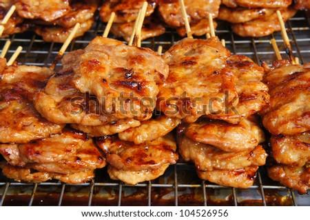 Thai Pork Barbecue - Grilled Pork Thai Style - stock photo