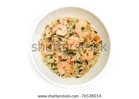 Thai prawn and rice dish isolated over white