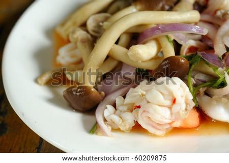 thai salad spicy seafood and mushroom