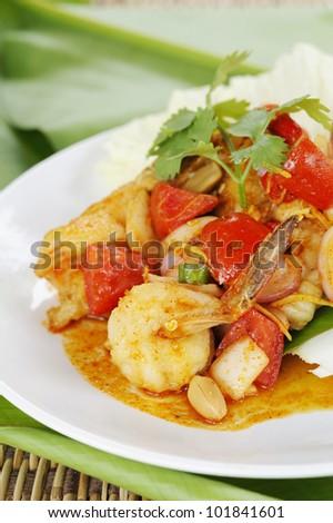 Thai Salad with shrimp and Seafood - thai salad hot and spicy with shrimp - yum spicy with  shrimp and herb - thai cuisine