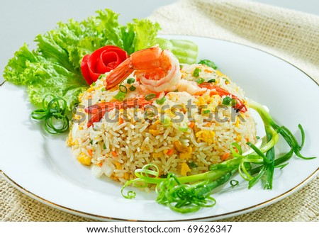 Thai shrimp fried rice old fashioned style thai food isolated