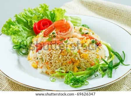 Thai shrimp fried rice old fashioned style thai food isolated