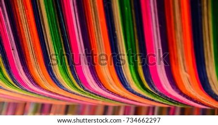 Thai silk colorful,colorful pattern,colorful background,colorful texture. #734662297