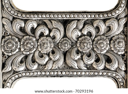 Thai silver flower detail Crafts world. Thai Lanna style.  mythology fine-art