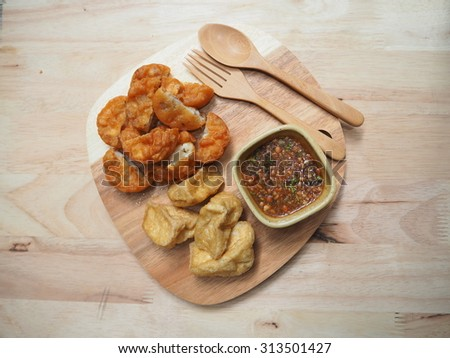 thai snack Fried Taro with Black Beans and Deep fried Tofu