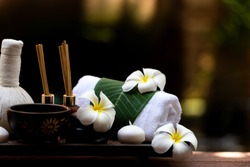 Thai Spa beauty massage healthy wellness background. Spa Thai therapy treatment aromatherapy for body woman with flower nature candle for relax summer time. Lifestyle and Cosmetic Concept