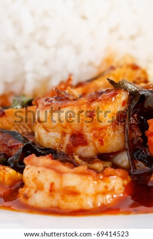 Thai spicy food, prawn fried with native curry