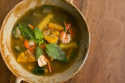 Thai Spicy Mixed Vegetable Soup with Prawns - street food asian style