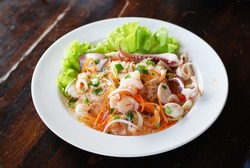 thai spicy salad seafood with vermicelli