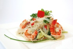 Thai spicy seafood salad.