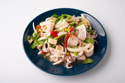 Thai Spicy Squid Salad in plate , Asian Food