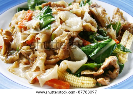 Thai stir-fried wide rice noodles with vegetables called Pad See-ew in Thailand