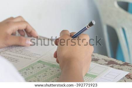 Thai student testing in exercise, exams answer sheets